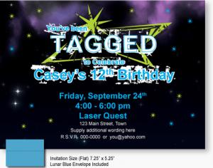 laser tag themed birthday party ; 7017-laser-tagged-boy-invitation-300x236