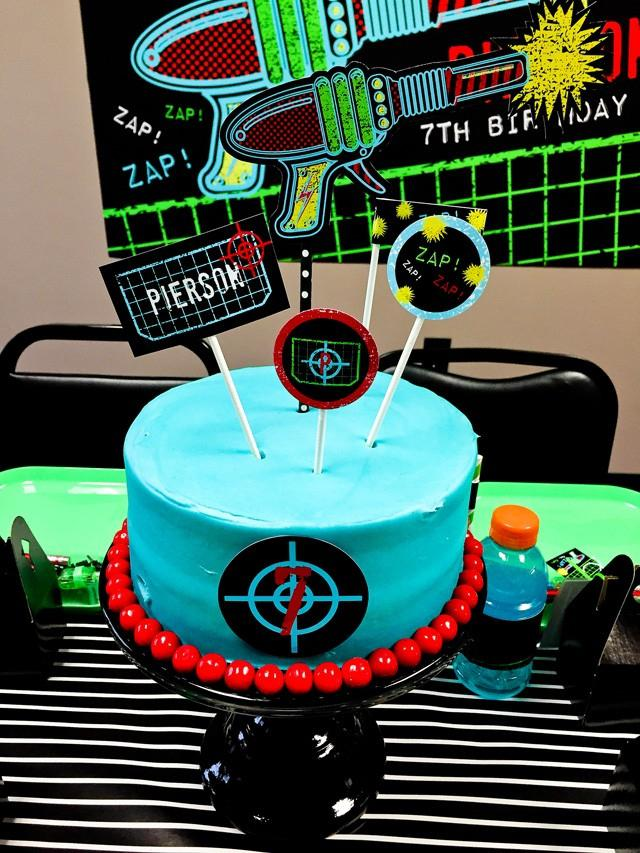 laser tag themed birthday party ; laser-tag-themed-birthday-cake-a-boys-laser-tag-birthday-party-spaceships-and-laser-beams-toping