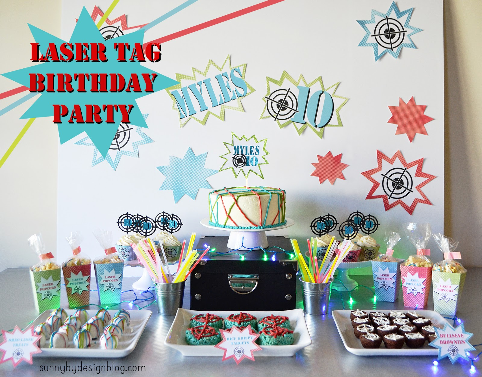 laser tag themed birthday party ; title