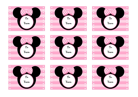 mickey mouse birthday gift tags printable ; minniegifttags