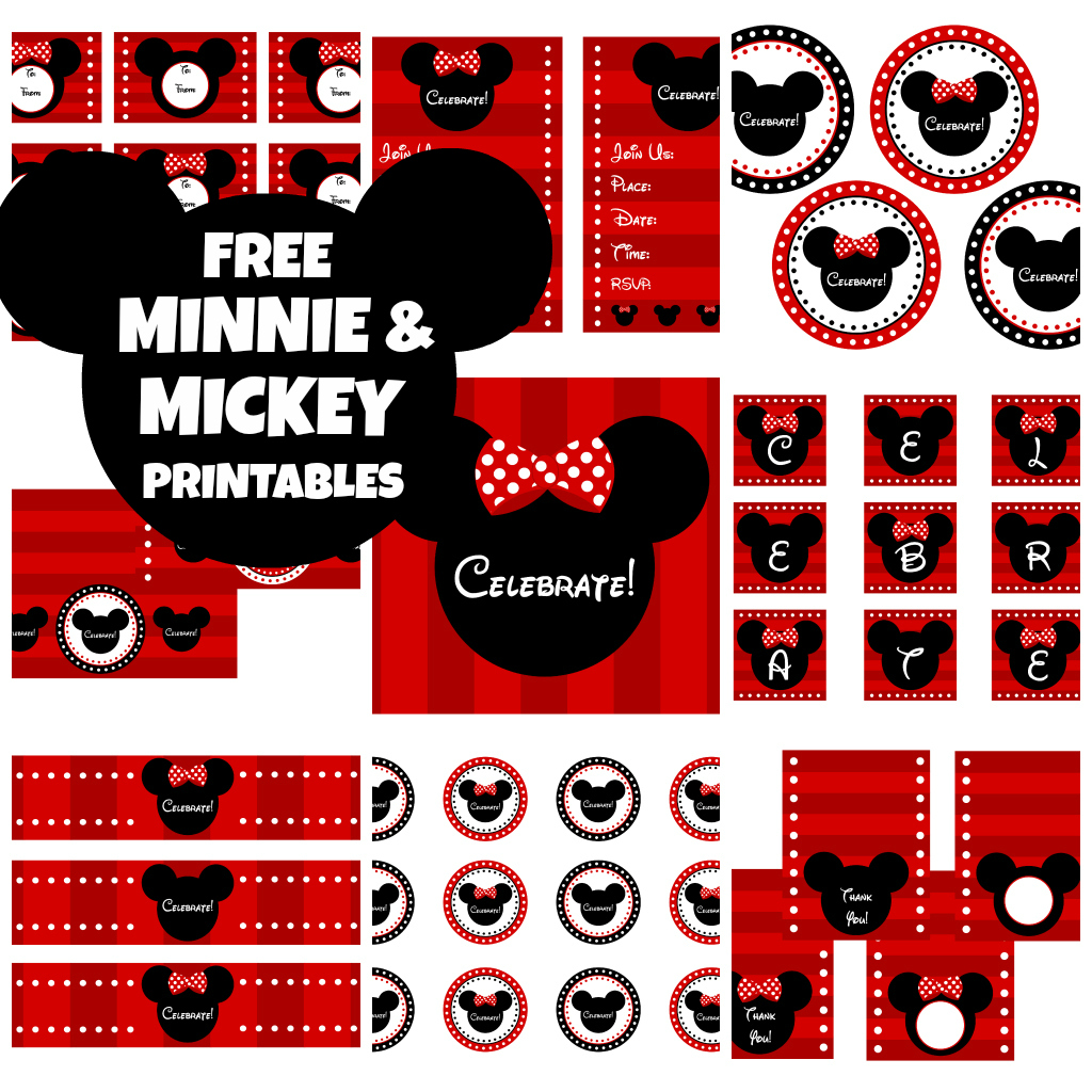 mickey mouse birthday gift tags printable ; minniemickeycollage