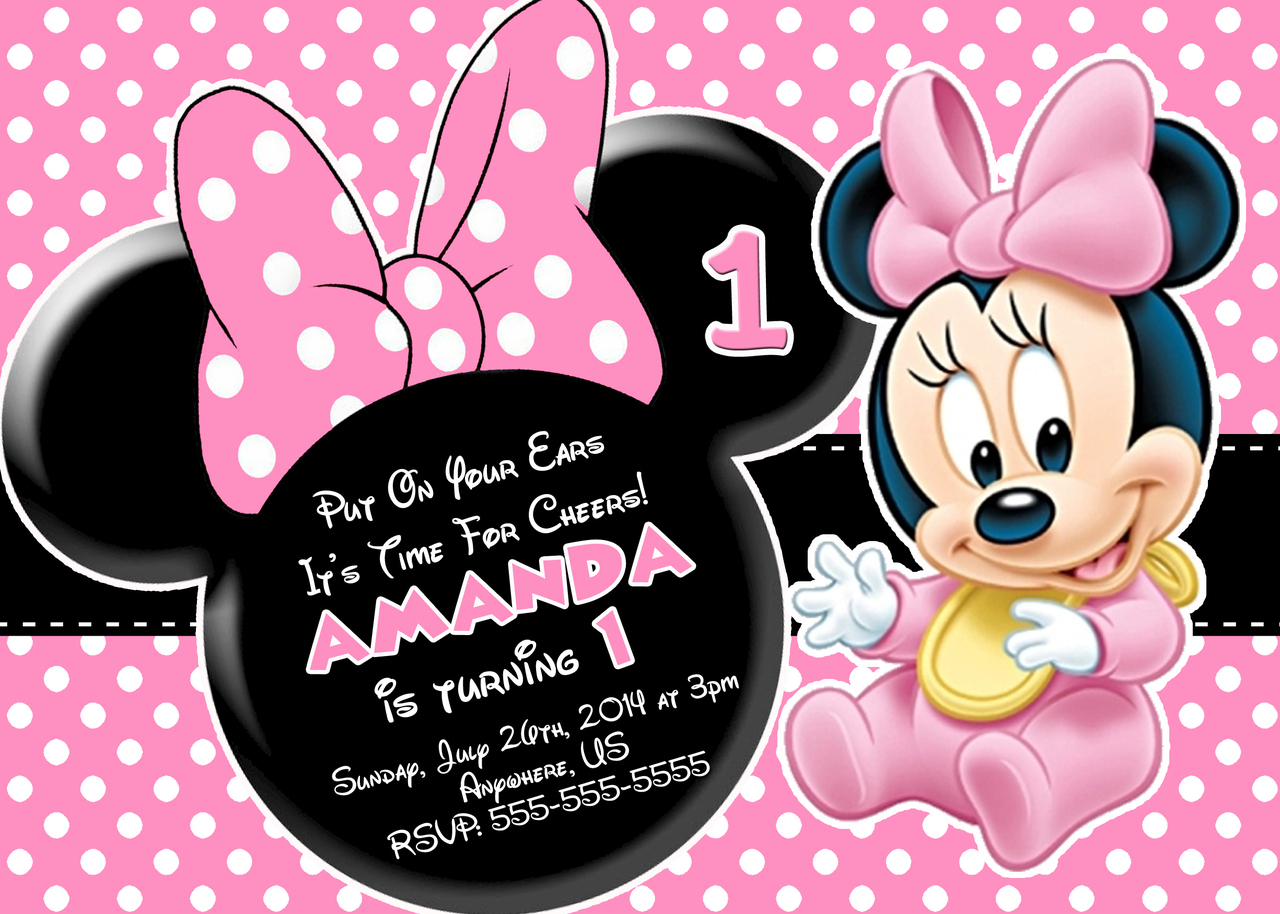 minnie mouse birthday sign printable ; Pink-And-Black-Polka-dot-Minnie-Mouse-First-Birthday-Invitations