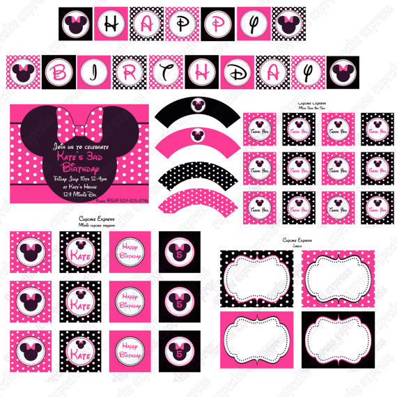 minnie mouse birthday sign printable ; il_570xN