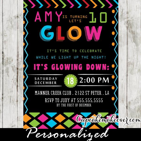 neon colored birthday invitations ; Girls-Glow-Dance-Party-Invitations-5