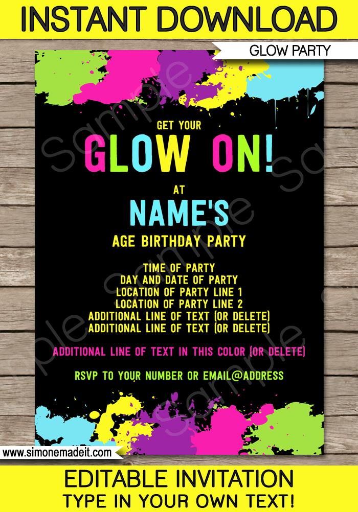 neon colored birthday invitations ; Glow-Invitations-Birthday-Party-editable-printable-template