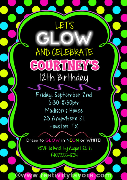 neon colored birthday invitations ; e7cab12d8a7bd19f6b160b205602af20