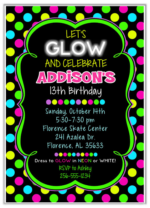 neon colored birthday invitations ; glowpartyinvite