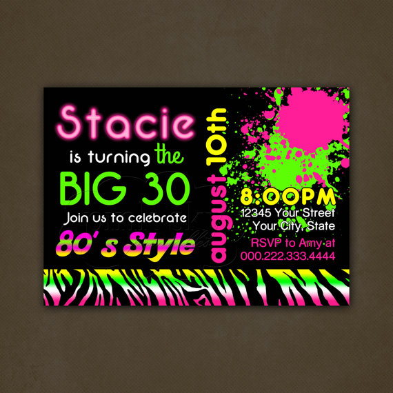 neon colored birthday invitations ; il_570xN