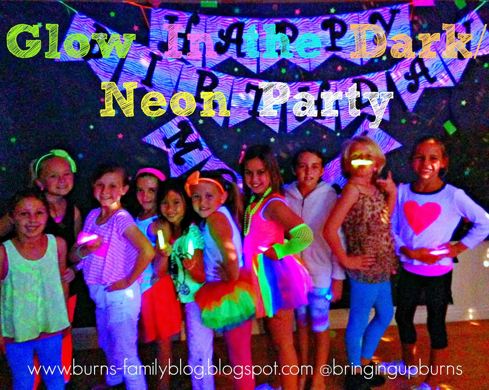 neon colored birthday invitations ; neon+party+pin