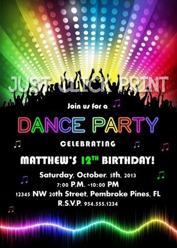neon colored birthday invitations ; neon_glow_dance_party_birthday_party_invitation_printable_092aecec