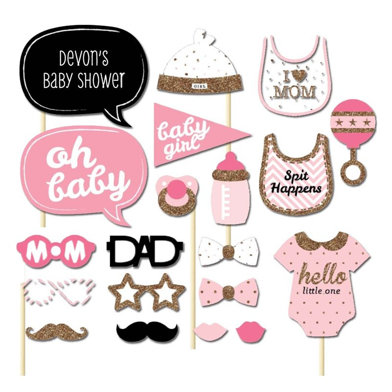 one year old birthday photo props ; 20Pcs-Baby-Shower-Decor-Photo-Booth-Props-Girl-Boy-Babies-One-Year-Old-Birthday-Party-Cute