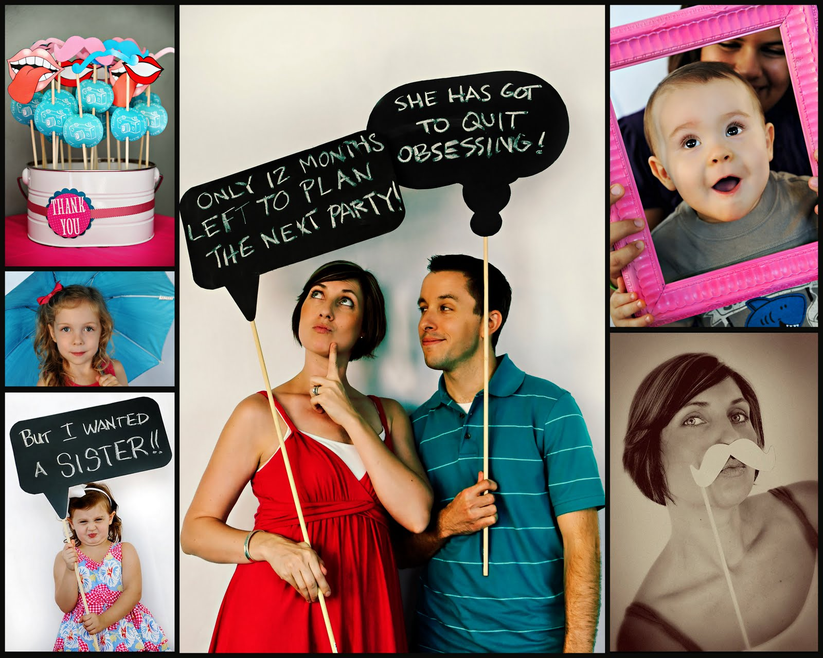 one year old birthday photo props ; prop+collage