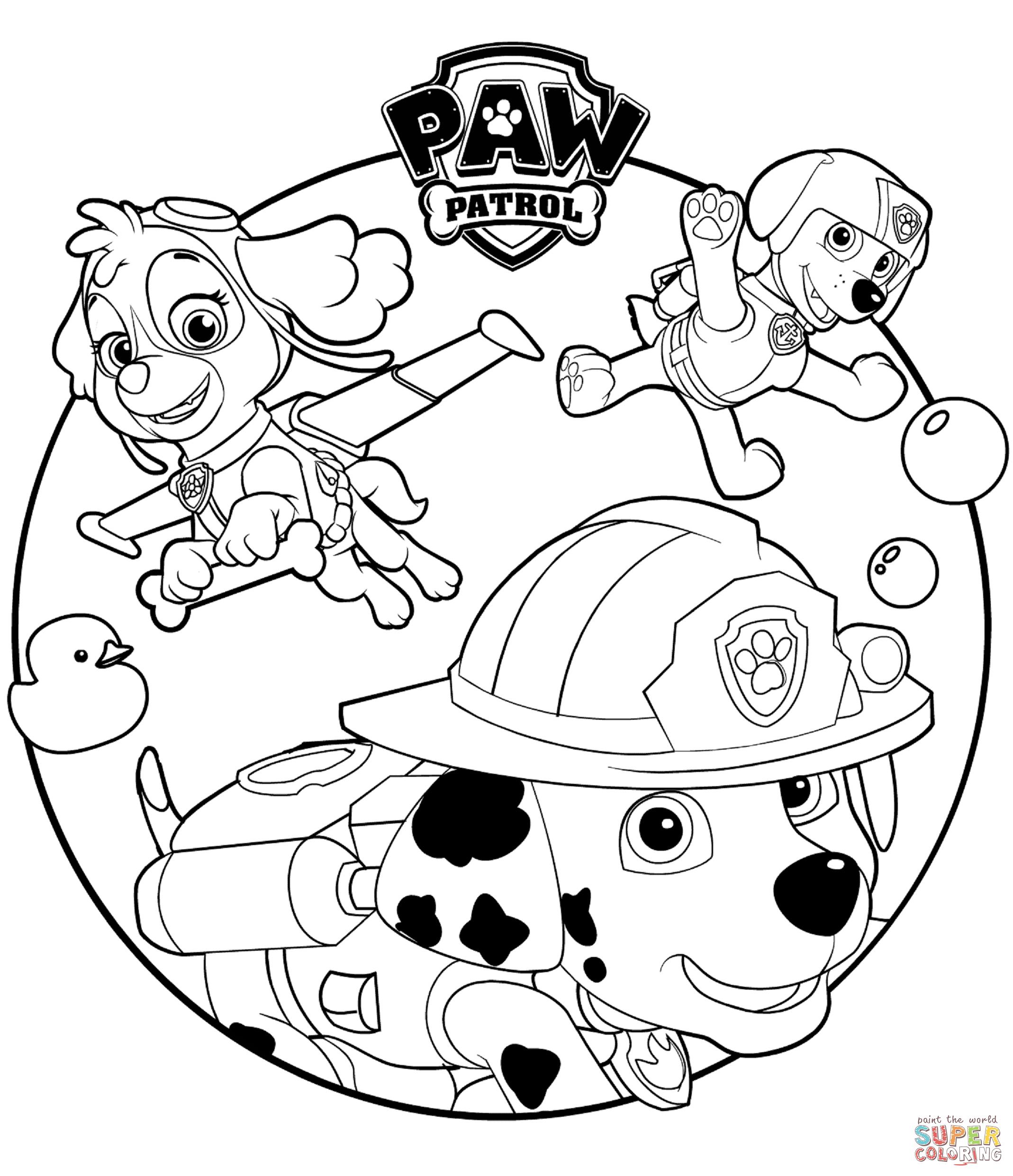 paw patrol birthday coloring sheets ; skye-marshall-and-rocky-coloring-page