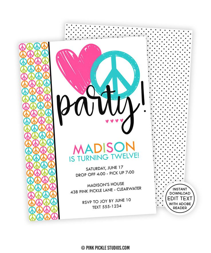 peace sign birthday invitation templates ; 0a7ab7bc98aa936af828372532aac80a