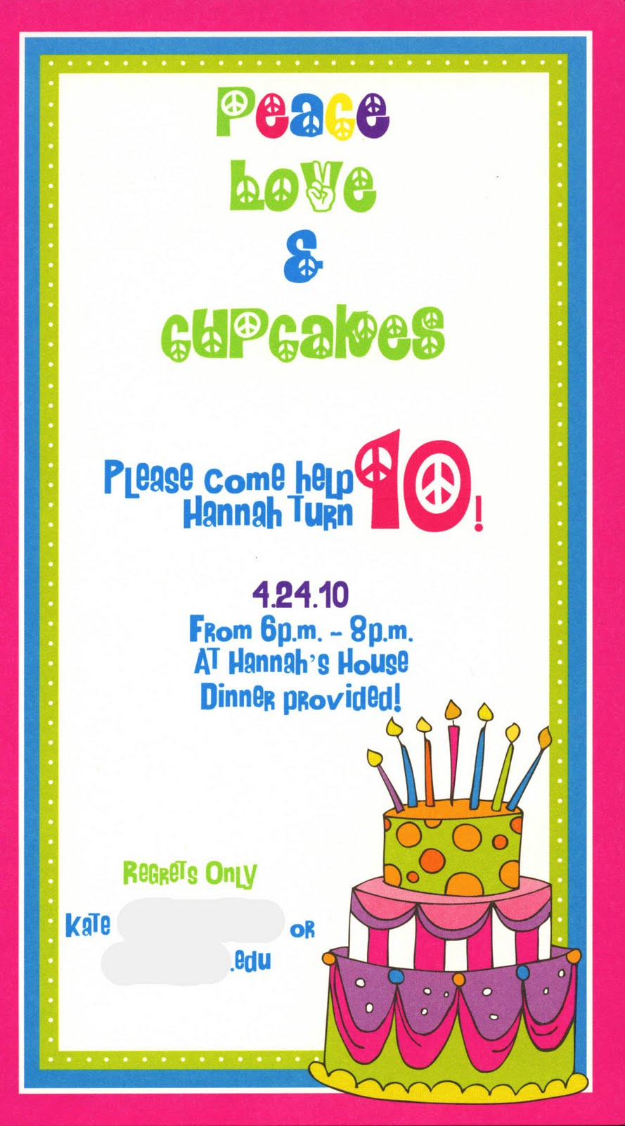 peace sign birthday invitation templates ; Peace+Out0001