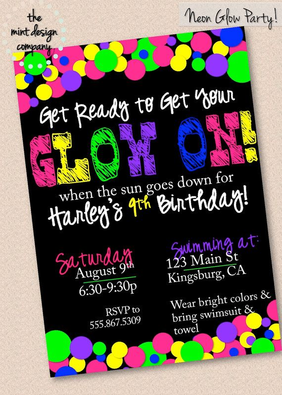 peace sign birthday invitation templates ; glow-in-the-dark-birthday-party-invitations-best-25-neon-party-invitations-ideas-on-pinterest-black-light-ideas