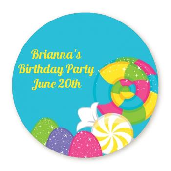 personalized birthday labels stickers ; candy_land_full_bleed_round_sticker