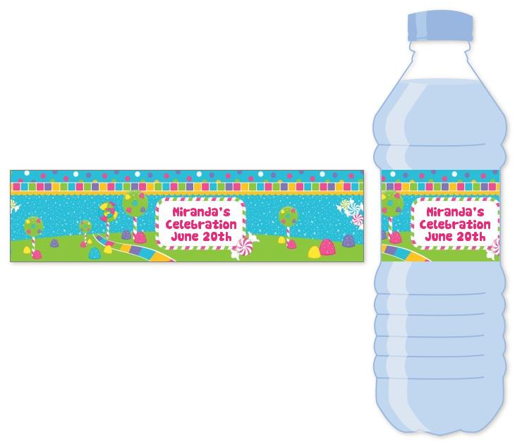 personalized birthday labels stickers ; candy_land_water_bottle_label