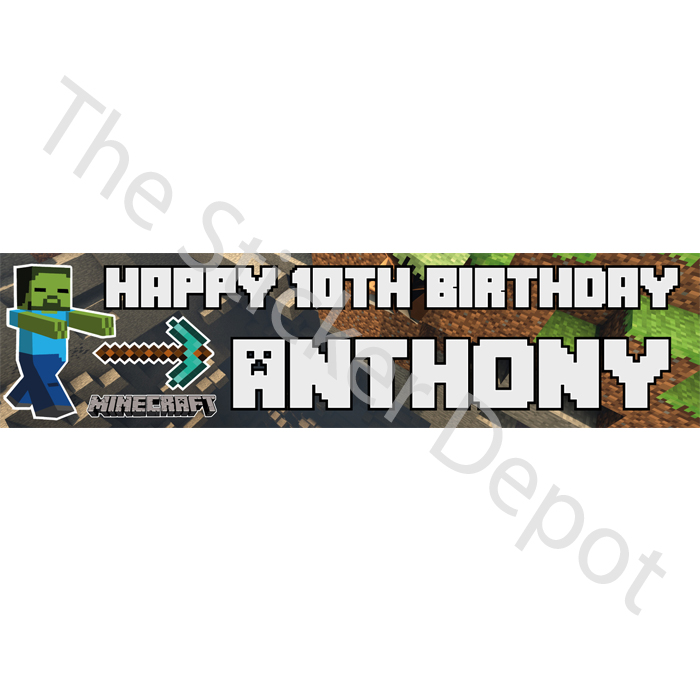 personalized birthday signs banners ; Minecraft-21