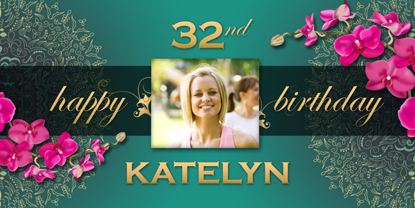 personalized birthday signs banners ; Pink-and-Teal-Floral-Birthday-Banner-with-photo-LG