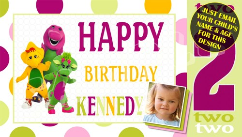 personalized birthday signs banners ; barney_personalized_custom_birthday_banner_with_photo_315d6ce8
