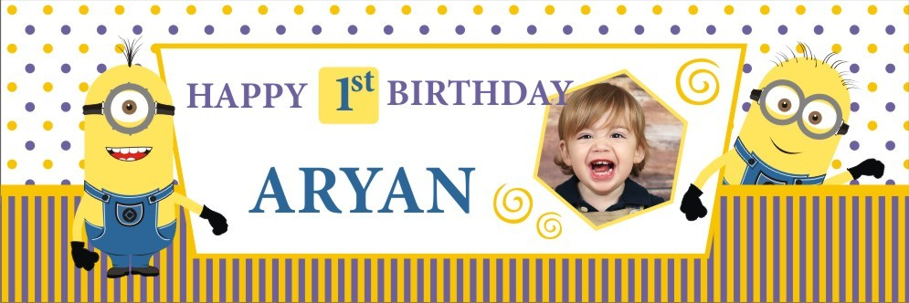 personalized birthday signs banners ; minnions