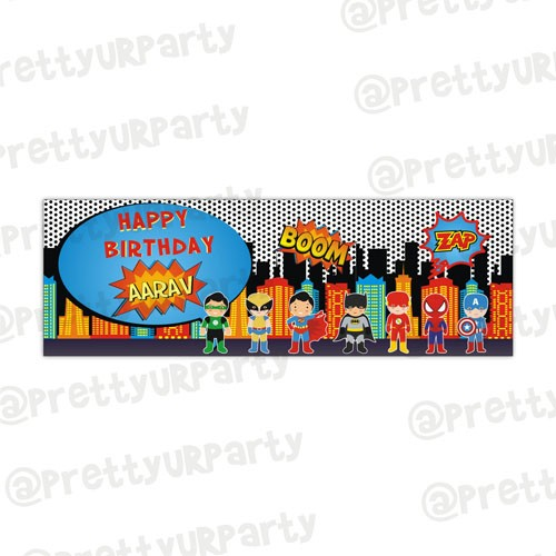 personalized birthday signs banners ; superhero_theme_banner_without_picture