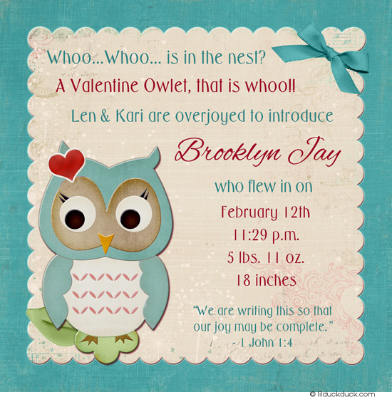 photo birthday announcements ; Baby-Owl-birth-announcement-Valentine-Hearts-red-teal-cream-simple