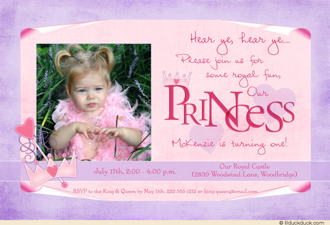 princess themed birthday invitation cards ; Little-Princess-Photo-Birthday-Invitation-crown-wand-pink-purple-1st