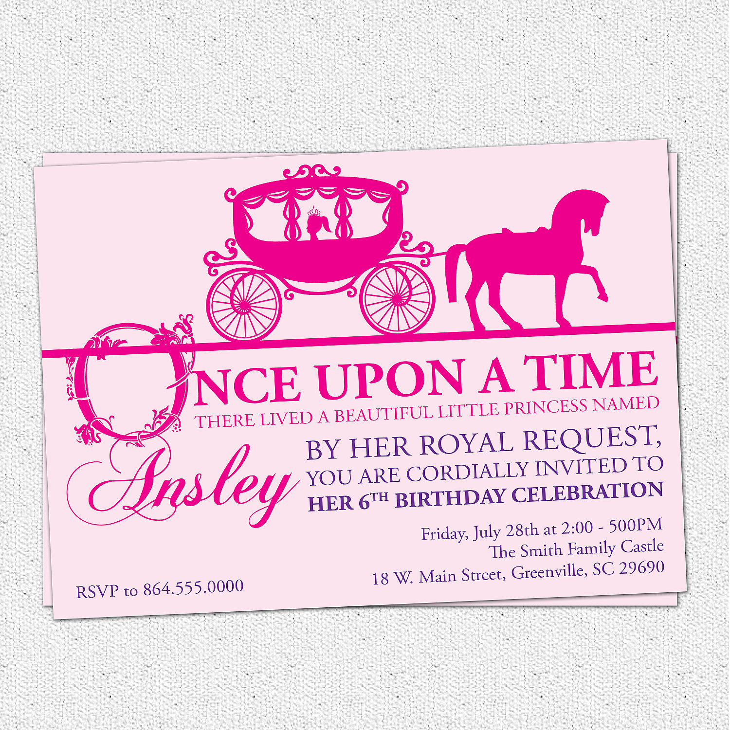 princess themed birthday invitation cards ; il_fullxfull