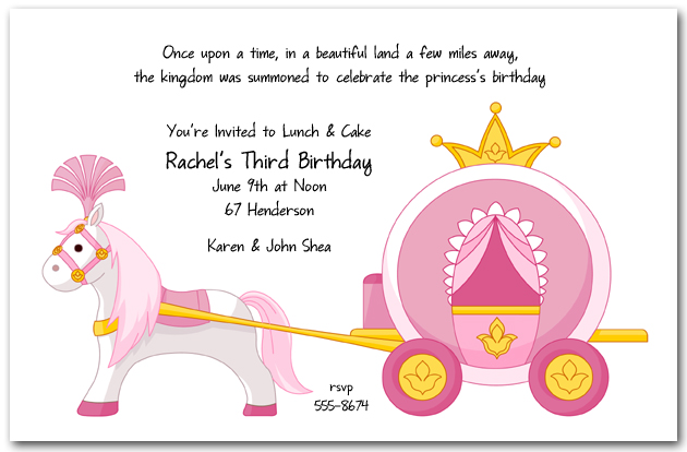 princess themed birthday invitation cards ; zPink-Princess-Carriage-Birthday-Invitation