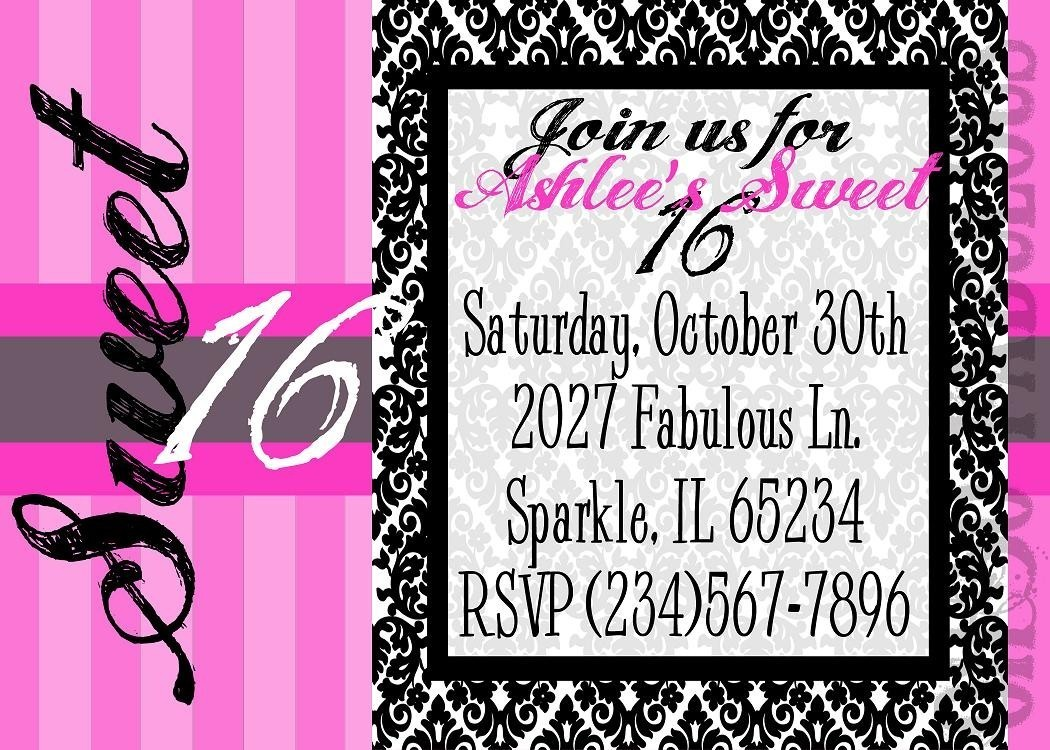 printable 16th birthday invitation templates ; 16-birthday-invitations-Card-