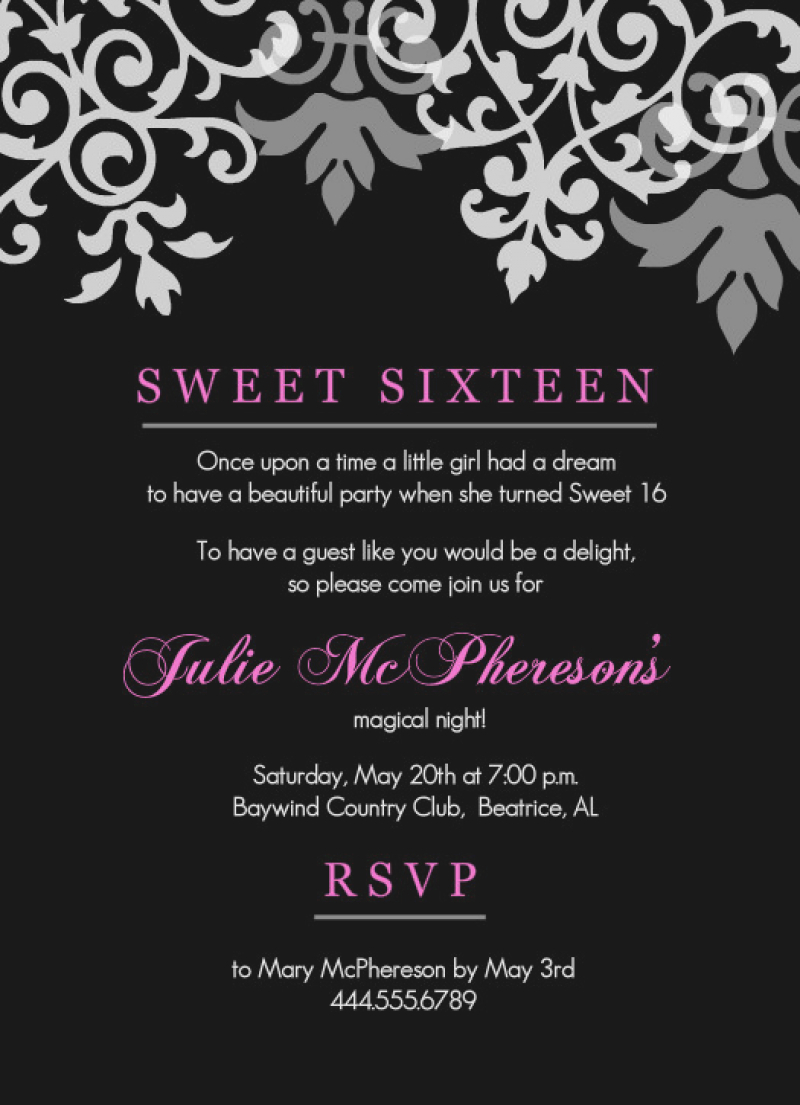 printable 16th birthday invitation templates ; sweet-16th-birthday-invitations-templates-free-drevio-2