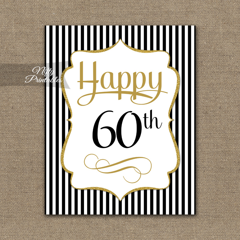 Printable 60th Birthday Signs Best Happy Birthday Wishes