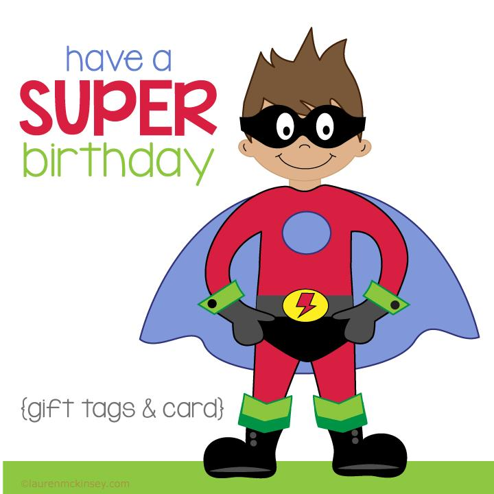 printable birthday gift tags ; superhero-birthday-gift-tags-and-card_complete-collection