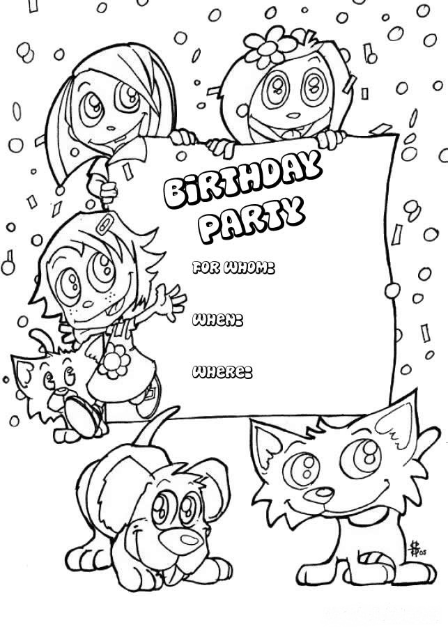 printable birthday invitations to color ; birthday-party-invitation-coloring-page-animals
