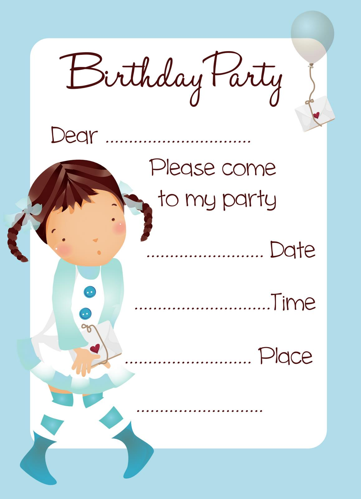 printable birthday invitations to color ; blue-balloon-print-invitation-cards-girl-birthday-party-printable-large-rectangular-shape-blue-color-form-date-name