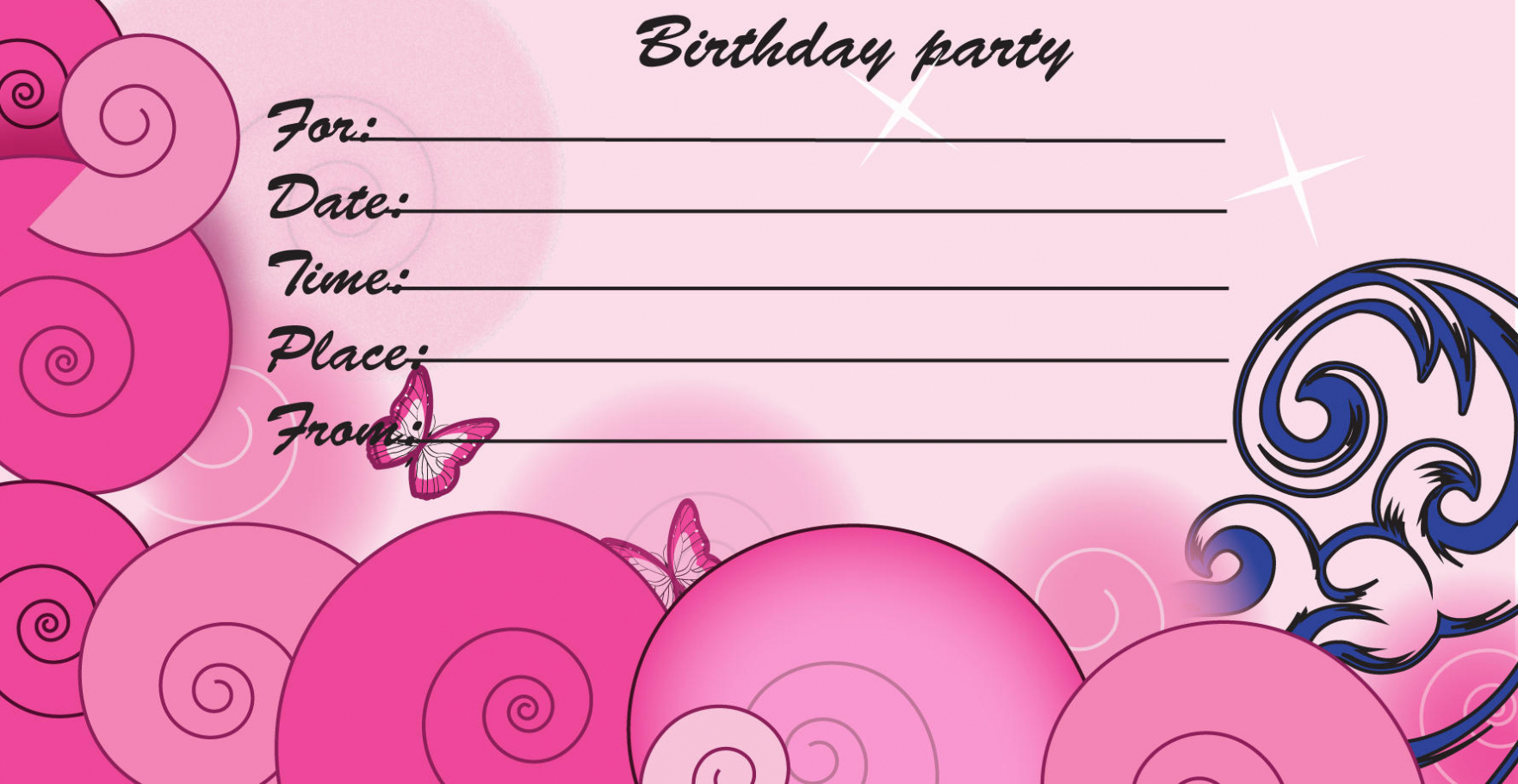 printable birthday invitations to color ; romantic-kids-birthday-invitation-template-with-pink-color-and-kids-printable-birthday-invitations