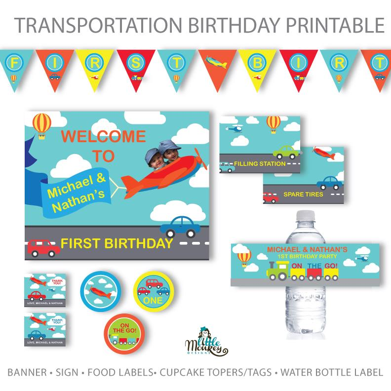 printable birthday labels ; Transportation_Boy_Set