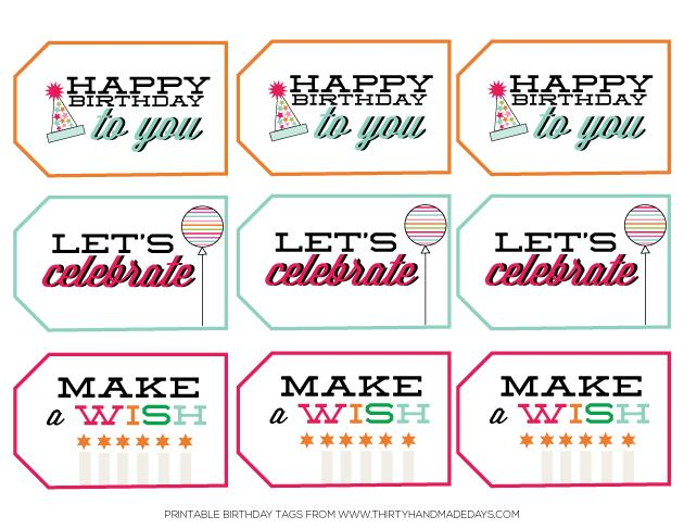 printable birthday labels ; printablebirthdaytags30daysblog