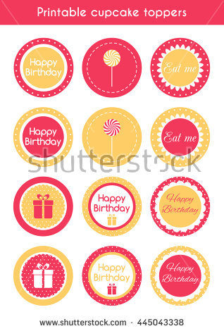 printable birthday labels ; stock-photo-set-of-printable-cupcake-toppers-labels-for-birthday-party-raster-version-445043338