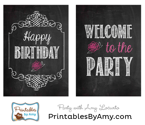 printable birthday signs ; Rose-Party-Signs
