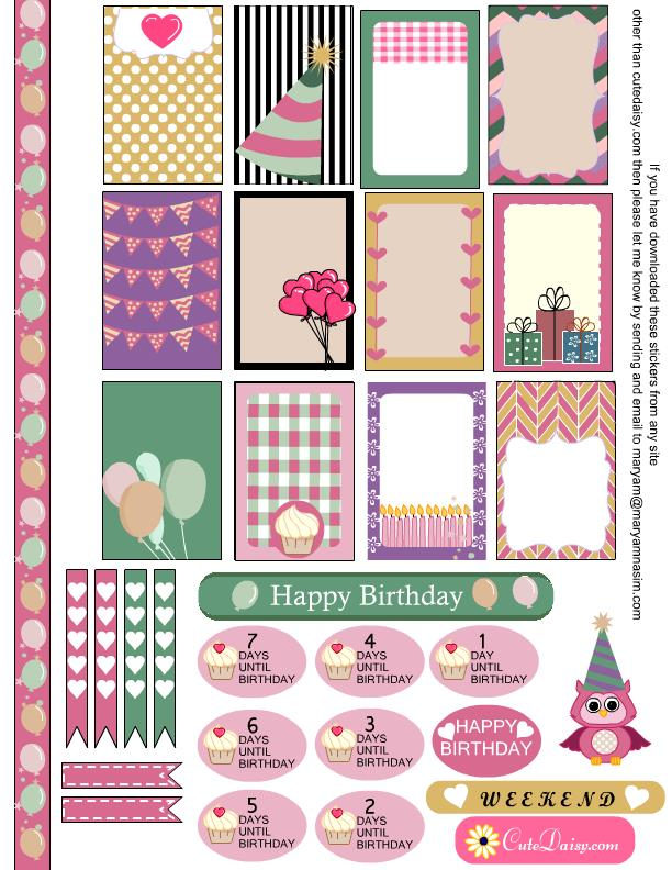printable birthday stickers ; birthday
