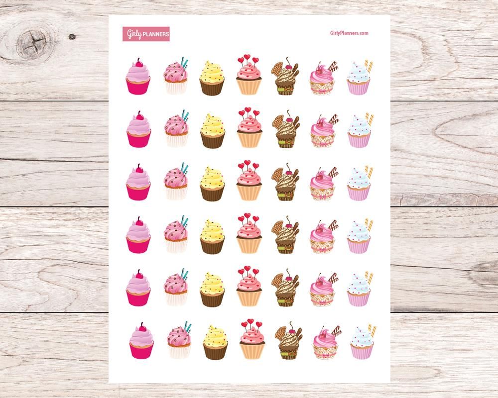 printable birthday stickers ; cupckaes_printable_planner_stickers