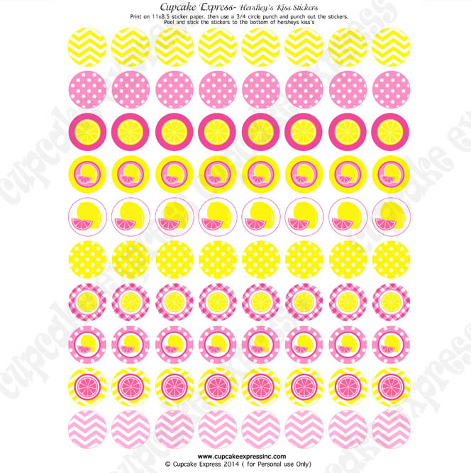 printable birthday stickers ; lemonadeHersheykissstickers
