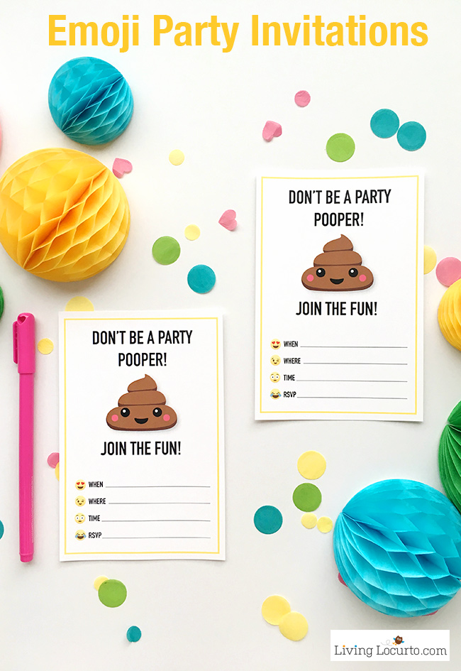 printable birthday tags ; Poop-Emoji-party-printables-Invitations