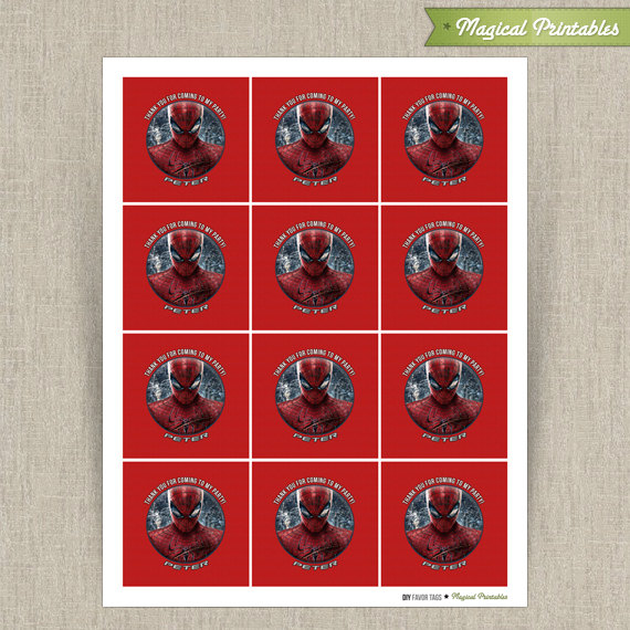 printable birthday tags ; amazing-spiderman-favor-tags3-570x570