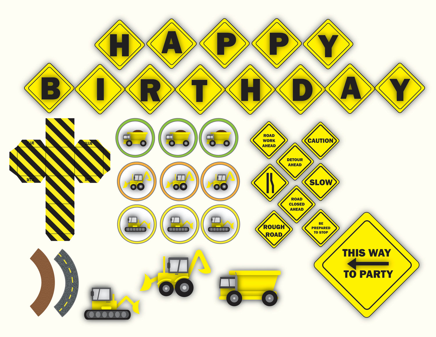 printable construction birthday signs ; items-similar-to-little-boys-construction-birthday-party-kit-on-etsy-1837675