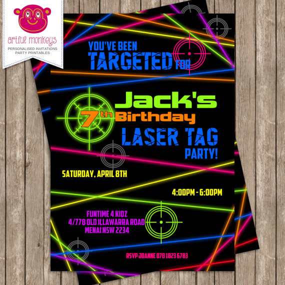 picture relating to Printable Laser Tag Birthday Invitations called Printable Laser Tag Birthday Bash Invites Least complicated Joyful