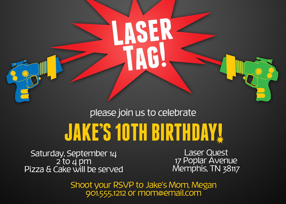 printable laser tag birthday party invitations ; laser-tag-party-invitations-theruntime-laser-quest-party-invitations